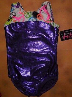 NWT BP Designs Gymnastic Purple Foil Tank Leotard Peace Sign Top Youth Large