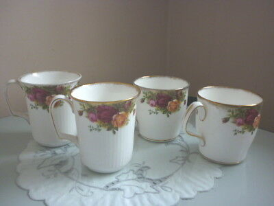 Two Pairs Royal Albert Old Country Roses Mugs