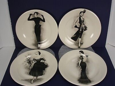 New Neiman Marcus 1907-2007 By Gien France Set Of 4 Fashion Cabinet Plates