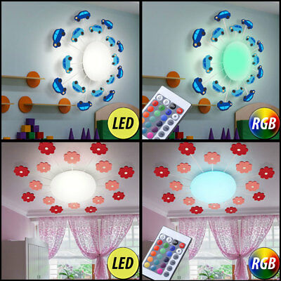 LED Car Ceiling Lamp Children's Room RGB Dimmer Remote Control Glass Flowers