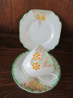 H Wain~Melba Ware~Hand painted Trio.Stunning Green pastels Floral 1930's/40's?