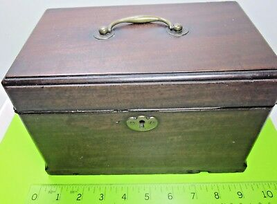 Antique Georgian Victorian Old Mahogany Tea Caddy Secret Spoon Drawer For Repair