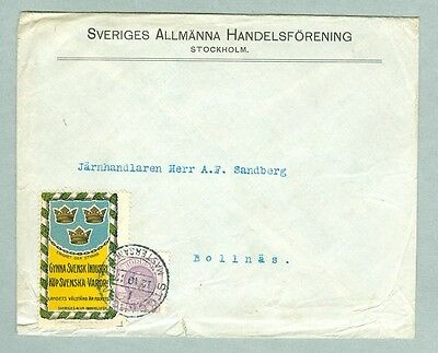 Sweden. Cover Commercial 1912. Sweden's Trade Assoc.  Stamp 4 Ore & Poster Stamp