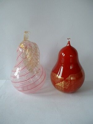 Attractive Quality Art Glass Paperweights  -  Pear shape
