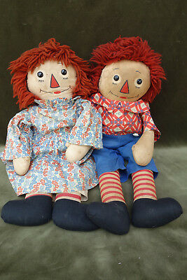 "Early 20"" Georgene Raggedy Ann and Andy Outline Nose Cloth Dolls Tagged"