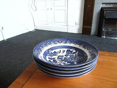 "Set Of 5 Churchill Blue Willow 9"" Soup Bowls"