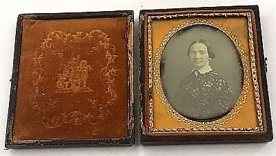 Hand Tinted Textured Sixth Plate Daguerreotype of Well Dressed Middle Aged Woman