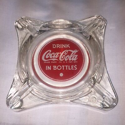 Vintage Coca Cola Glass Ashtray Coke Ash Tray Old & Authentic