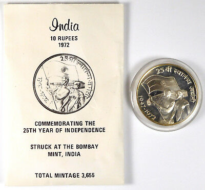 1972-B India 10 Rupees Proof - KM# 187.1