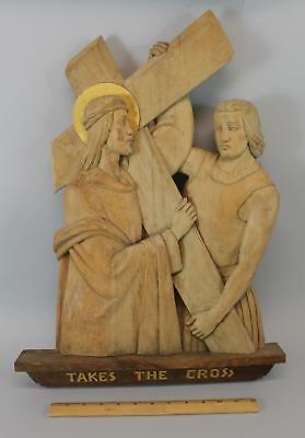 Vintage Mid Century Carved Wood Sculpture Jesus & Simon 5th Station of the Cross