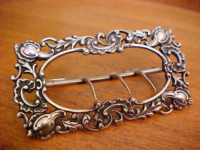 Antique English Sterling Blossoms & Tendrils Buckle