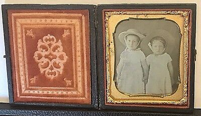 Hand Tinted Sixth Plate Daguerreotype Two Young Girls Sun Dresses & Straw Hats