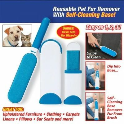 ACALI Pet Fur & Lint Remover Reusable Pet Fur Remover With Self-Cleaning Base