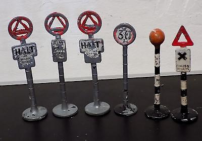 Vintage Painted Lead Road Signs x 6, Unknown Makers