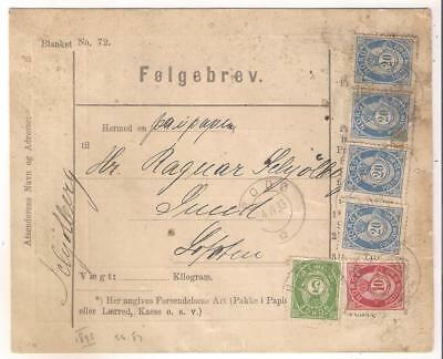 25154 Norway 1893 stationery Folggebrev Bodo to Lofoten Islands Scarce