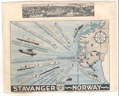 25155 Norway Stavanger Ferry advert env to GB in 1937 Railway TPO cancel