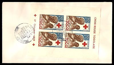 Togo 1959 Red Cross Souvenir Sheet FDC Scott B13a Unaddressed With Sealed Flap