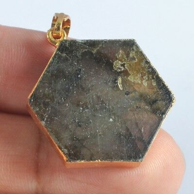 Hexagon Natural Labradorite Pendant Bead Gold Plated T046915