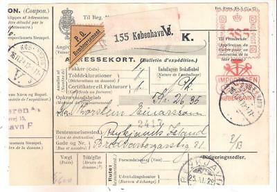 25157 Denmark Addresskort to Iceland in 1929 machine cancel