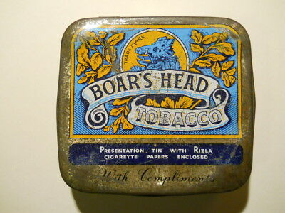 Rare,  Boar's Head Tobacco, Presentation Tin, (general age-related wear)