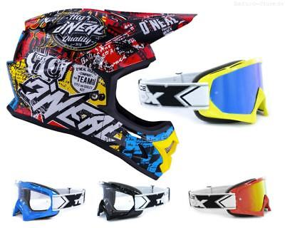 Oneal 3Series Wild Crosshelm mit TWO-X Race Crossbrille MX Enduro
