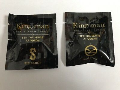 Two Different Kingsman The Golden Circle Odeon Promo Pin Badges still sealed