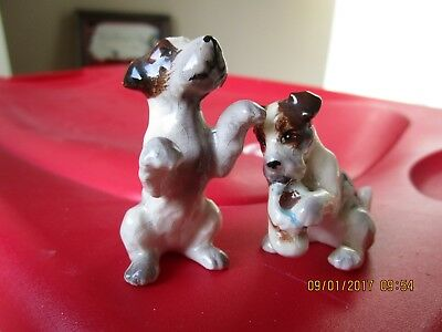 Adorable Small Pair Of Vintage Jack Russell Fox Terrier Porcelain Figurines Nr!
