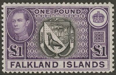 Falkland Islands 1938 KGVI £1 Black and Violet Mint SG163 cat £130