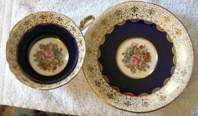 Aynsley Artist Signed J A Bailey Floral Cobalt Tea Cup and Saucer Great conditio