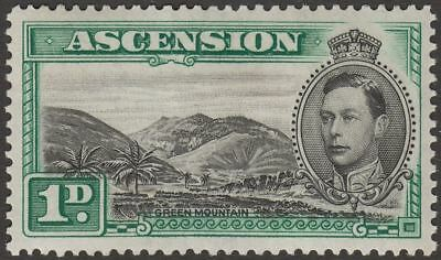 Ascension 1938 KGVI Green Mountain 1d Black and Green Variety Mint SG39 cat £45