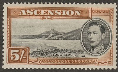 Ascension 1938 KGVI 5sh Black and Yellow-Brown p13½ Mint SG46 cat £95 perf fault
