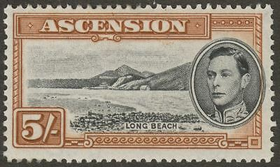 Ascension 1944 KGVI Long Beach 5sh Black and Yellow-Brown p13 Mint SG46a cat £40