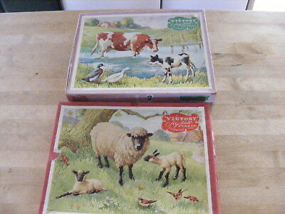 2 X  Vintage Victory Plywood Jigsaw Puzzle Animal Series - SHEEP & CATTLE