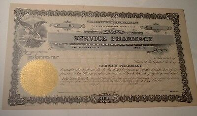 Antique Non Issued Mint Stock Certificate SERVICE PHARMACY San Francisco 1920s