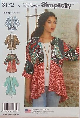 Simplicity 8172 Easy To Sew Misses Kimono Jackets Sewing Pattern Sz 4-26