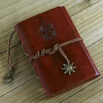 Retro Vintage Leather Bound Blank Page Notebook Note Notepad Journal Diary B BA