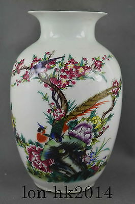 8.65In Collection Handwork Porcelain Paint Flower Bird Auspicious Fashion Vase