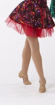 NWdesigner tag Red organdy skirt with attached print peplum sequin trim Small ad
