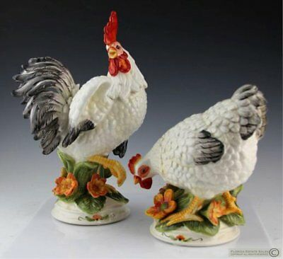 "Fitz And Floyd Chanticlair Rooster And Hen Pair 10-1/2"" Tall Beautiful Rare Vgc"
