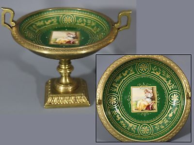 Small Antique 19thC French Porcelain & Gilt Bronze Compote & Miniature Painting
