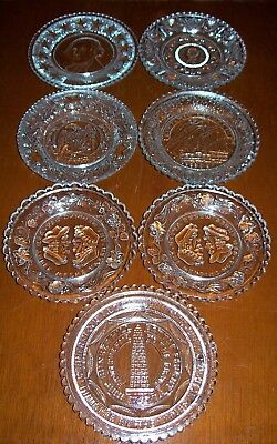 Lot of 7 Antique Sandwich Glass Cup Plates Clay Henry, Washington, Franklin, etc