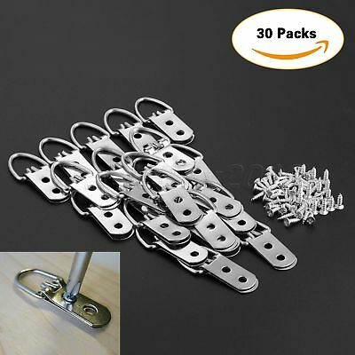 30/60Pcs 53*23mm Heavy Duty D-Ring Picture Hangers Frame Hanging 2 Hole + Screws