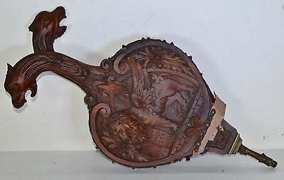 Antique Black Forest Fireplace Bellows carved griffin north wind