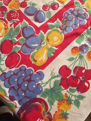 Vintage Tablecloth Bright Fruit Design Red Cherry Raspberry Plums Apples Pears