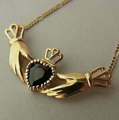 Unusual Vintage 9Ct Gold And Sapphire Claddagh Necklace