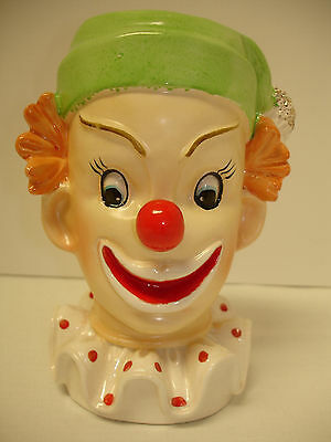 Collectible  Antique 1958 Napco Item #c3321B Clown Head Ceramic Vase Excel Cond