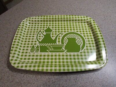"VINTAGE! - Green Checkerboard, 11"" x 15"", Metal, Serving Tray, Pre-Owned, Clean"