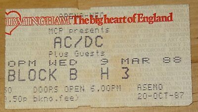 Ac/dc Ticket Stub 1988 Blow Up Your Video World Tour Birmingham Nec Angus Young