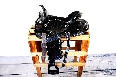 """16"""" Black Silver Laced Tooled Leather Horse Barrel Trail Western Saddle Tack"""