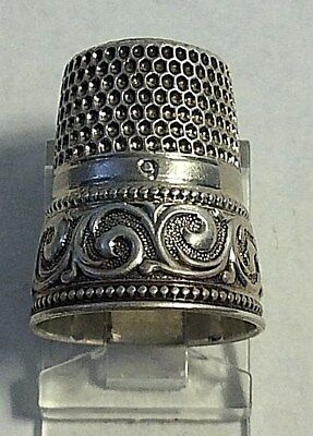 Antique Simons Sterling Silver Thimble Band of Scrolls Design Sewing